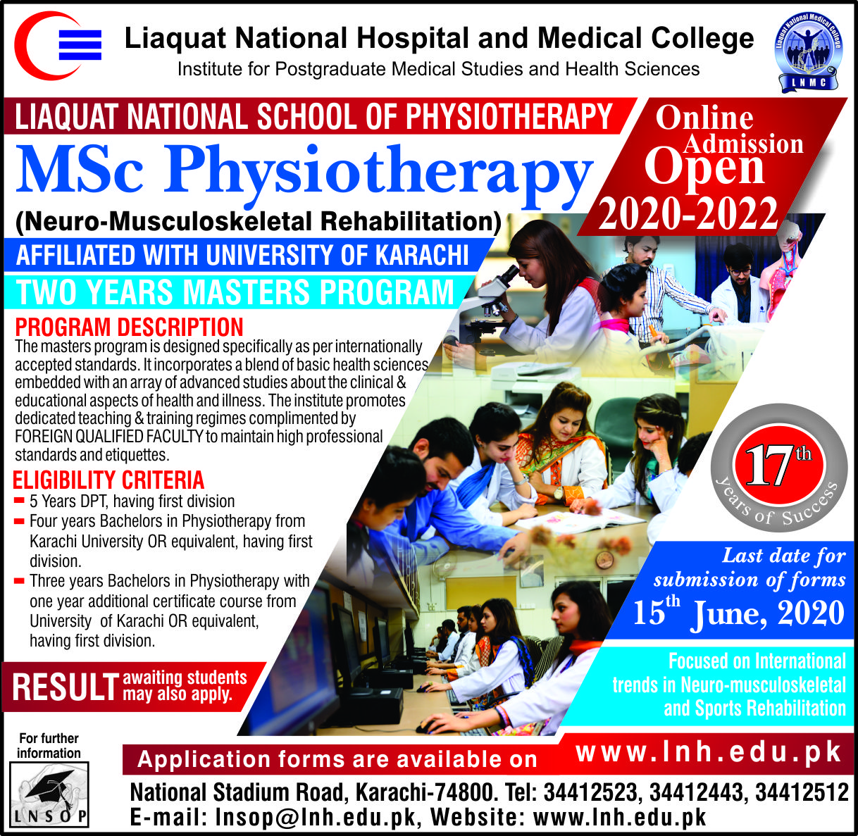 Online Admissions Open in M.Sc. Physiotherapy (2020-2022)
