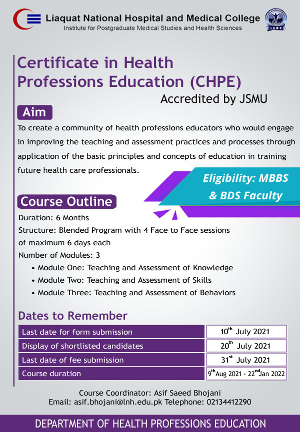 Certificate in Health Professions Education (CHPE) Course