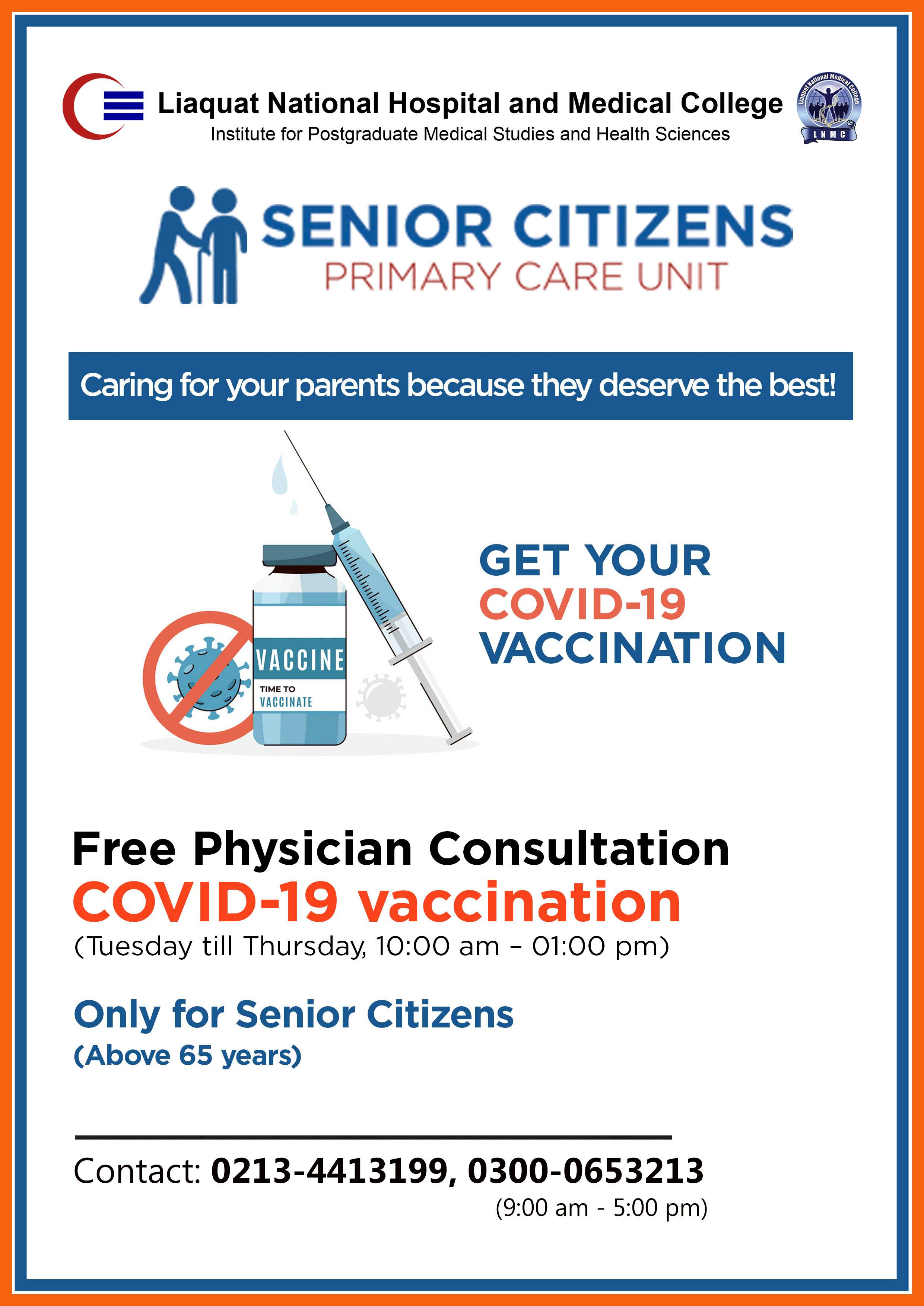 Free Consultation on COVID-19 Vaccination (Only for Senior Citizens)