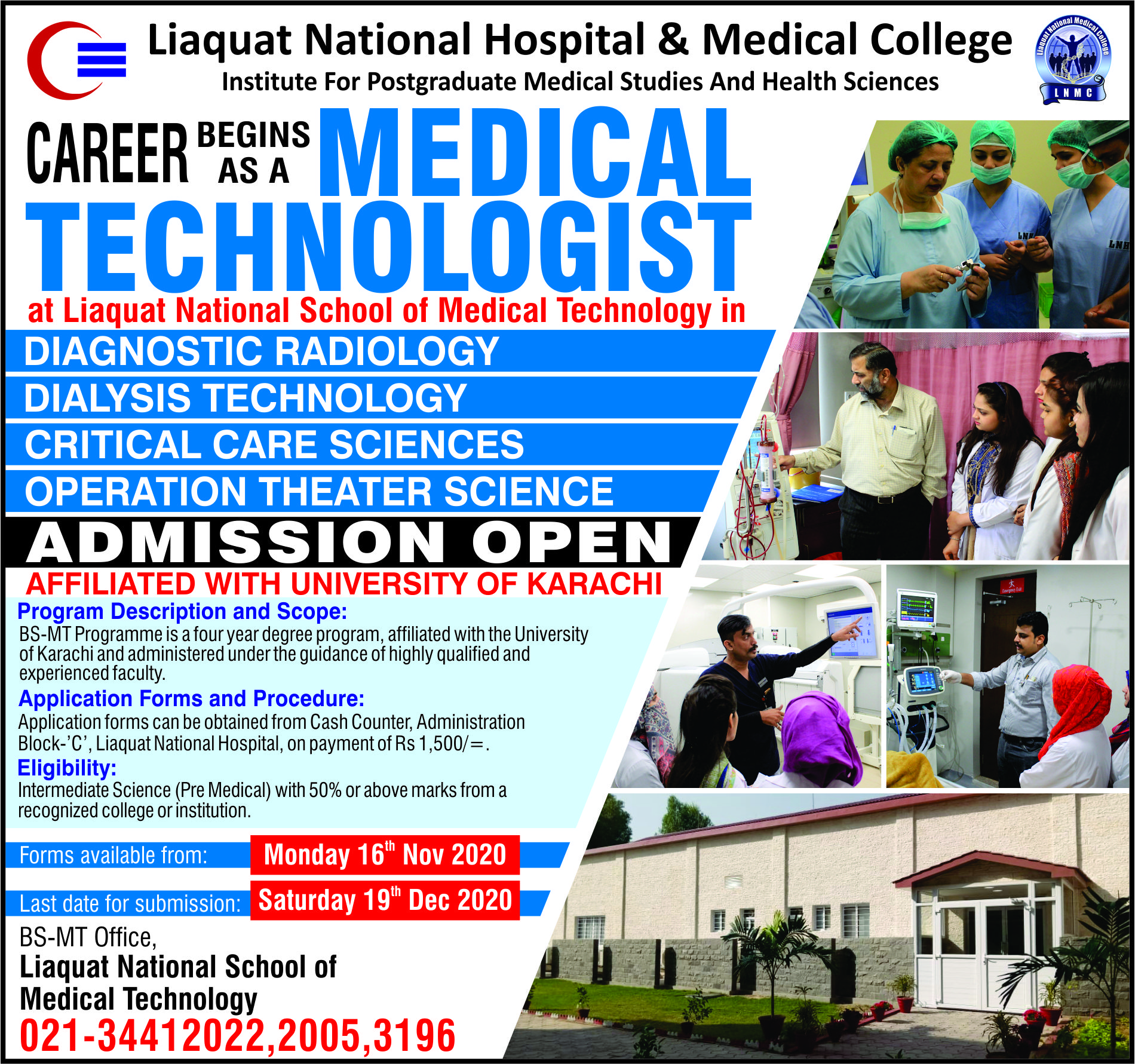 Admissions Open in BS - Medical Technology