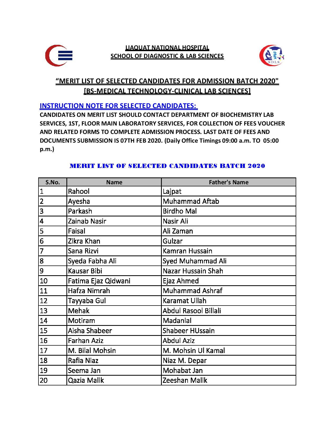 Merit List of Selected Students BS MT CLS-SDLS Batch 2020
