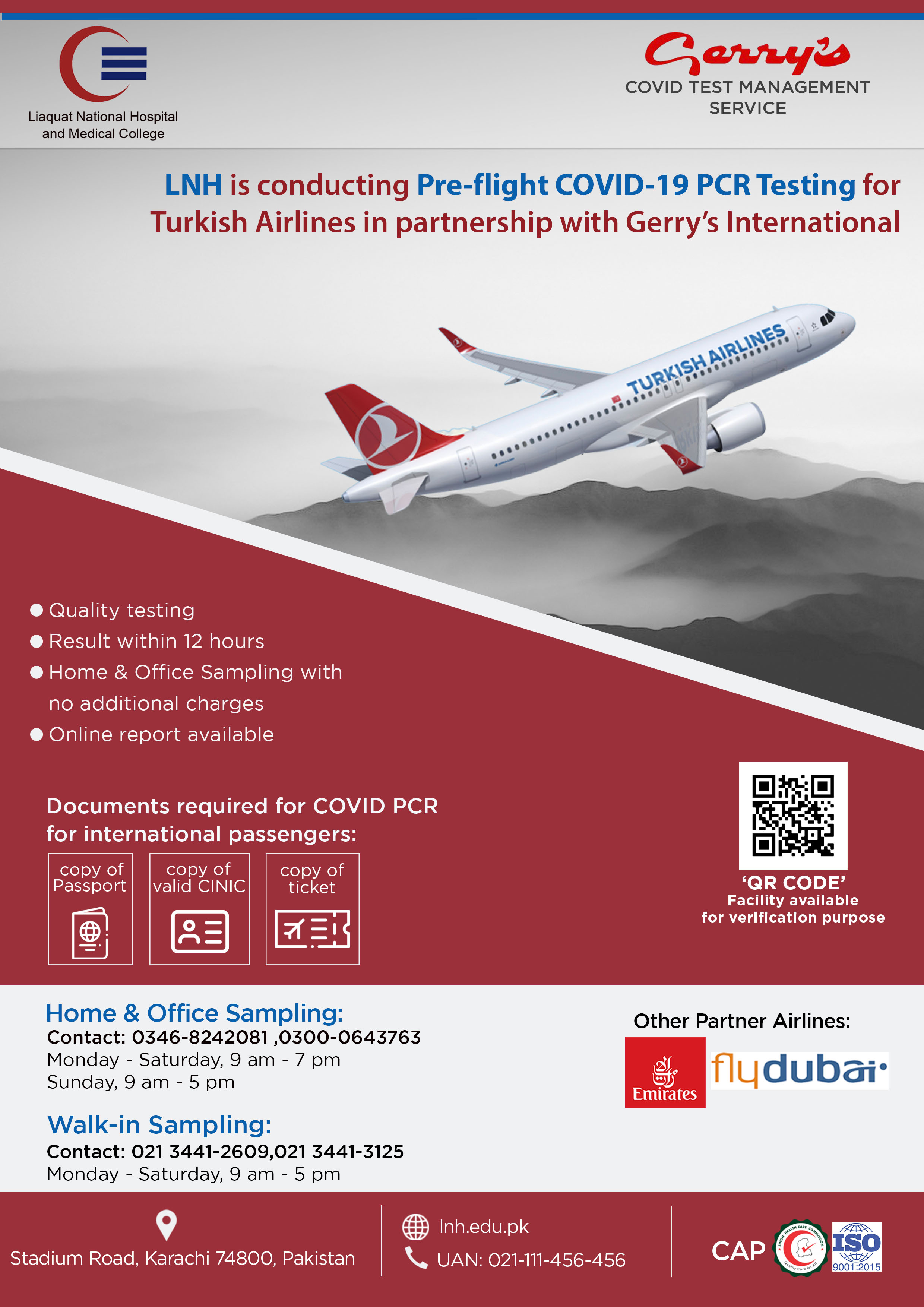 Pre-flight COVID-19 PCR Testing for Turkish Airlines Passengers