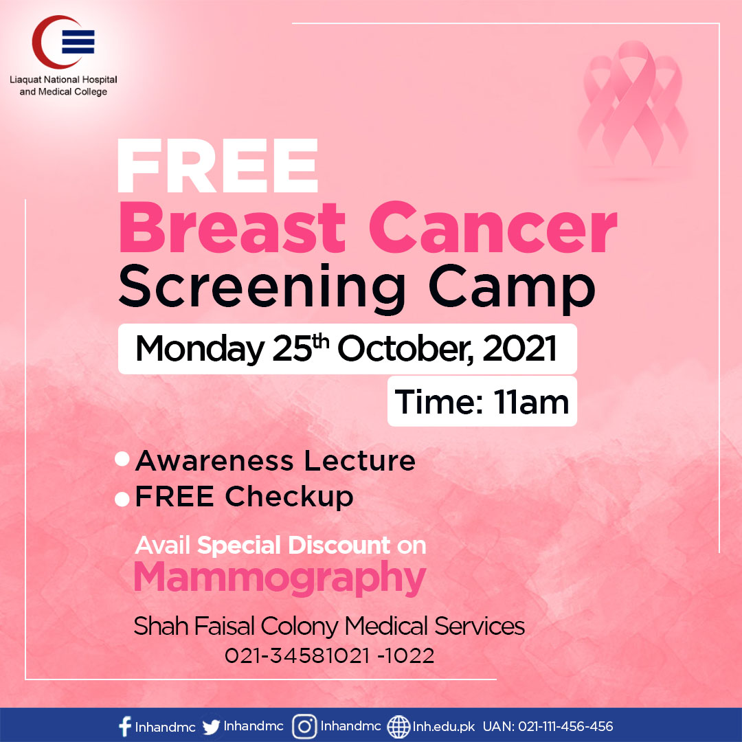 Free Breast Cancer Screening Camp at Shah Faisal Colony Medical Services